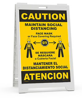 Bilingual Caution Maintain Social Distancing Sandwich Board Sign