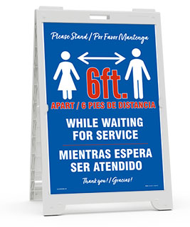 Bilingual Please Stand 6 FT Apart While Waiting Sandwich Board Sign
