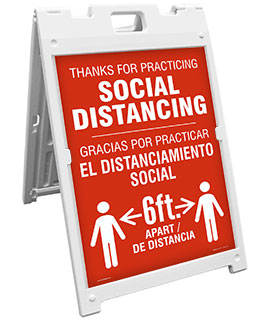 Bilingual Thanks For Practicing Social Distance Sandwich Board Sign
