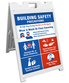 Building Safety Precautions Sandwich Board Sign