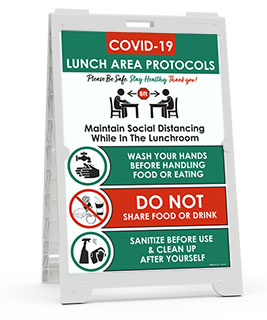 COVID-19 Lunch Area Protocols Sandwich Board Sign