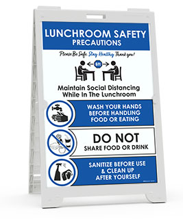 Lunchroom Safety Precautions Sandwich Board Sign
