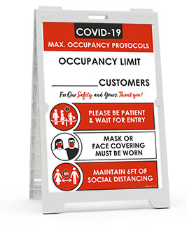 COVID-19 Max. Occupancy Protocols Sandwich Board Sign
