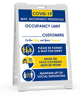 COVID-19 Max. Occupancy Limit Sandwich Board Sign