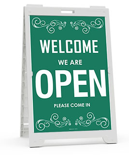 Welcome We Are Open Sandwich Board Sign