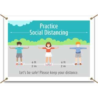 Practice Social Distancing School Banner