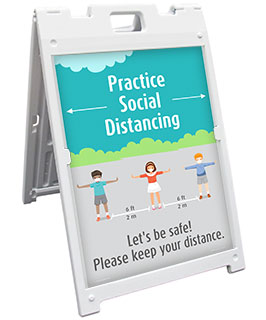 Practice Social Distancing School Sandwich Board Sign