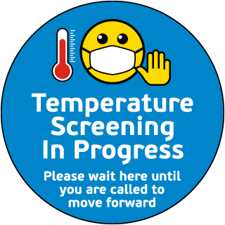 Temperature Screening in Progress Floor Sign