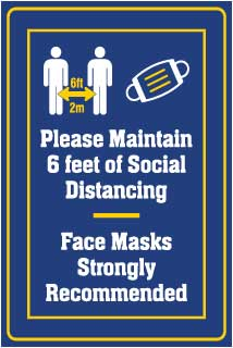 Please Maintain Social Distancing Face Mask Recommended Banner