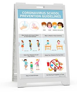 Coronavirus School Prevention Guidelines Sandwich Board Sign