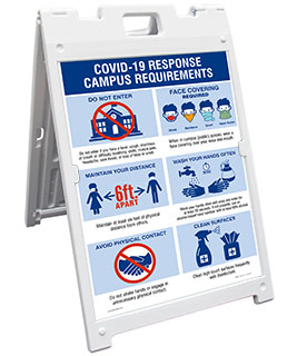 Covid-19 Response Campus Requirements Sandwich Board Sign