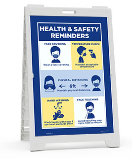 Health And Safety Reminders Sandwich Board Sign