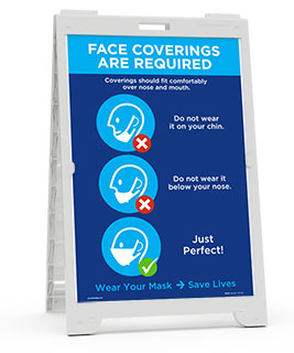 Face Coverings Required, Save Lives Sandwich Board Sign