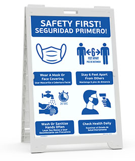 Bilingual Safety First! Wear A Mask and Stay 6Ft Apart Sandwich Board Sign