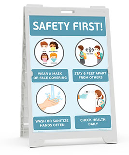 Safety First! Wear a Mask Childrens Sandwich Board Sign