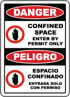 Bilingual Confined Space Enter By Permit Only Sign
