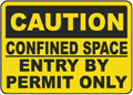 Caution Confined Space Entry By Permit Only sign