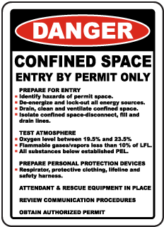 Danger Confined Space Entry By Permit Only Prepare for entry Identify hazards of permit space respirator Sign