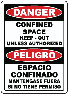 Bilingual Danger Keep Out Unless Authorized Label