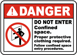 Danger Do Not Enter Confined Space. Proper protective clothing required sign