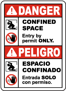 Bilingual Danger Confined Space Entry By Permit Only Sign