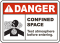 Danger Confined Space Test Atmosphere Sign