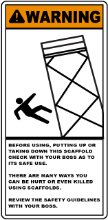 Warning Before Using, Putting Up Or Taking Down This Scaffold Check With Your Boss As To It's Safe Use.. Sign