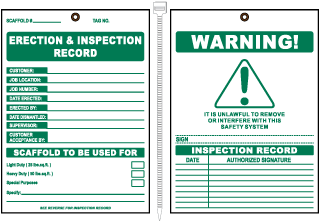 Erection & Inspection Record Tag