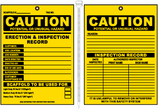 Caution Erection & Inspection Record Tag