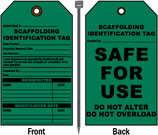 Scaffolding Identification Tag Safe For Use Tag