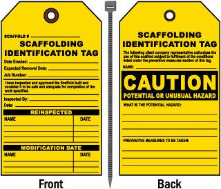 Scaffolding Identification Tag Caution Potential Or Unusual Hazard Tag