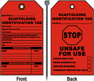 Scaffolding Identification Tag Stop Unsafe For Use Tag