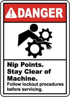 Danger Nip Points. Stay Clear of Machine., E2202