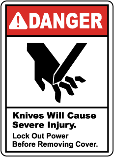 Danger Knives will cause severe injury, E2207