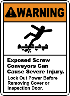 Warning Exposed Screw Conveyors, E2216