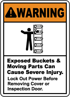 Warning Exposed Buckets & Moving Parts, E2217