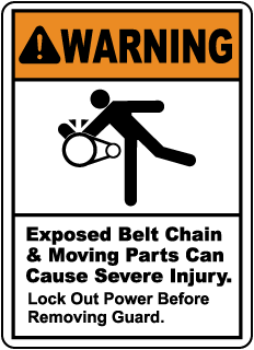 Warning Exposed Belt Chain & Moving Parts, E2218