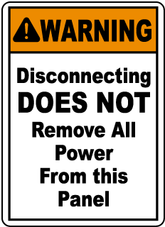 Warning Disconnecting DOES NOT Remove, E2225