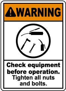 Warning Check equipment before operation., E2226