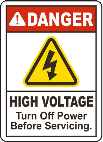 Danger High Voltage Turn off Power, E2255