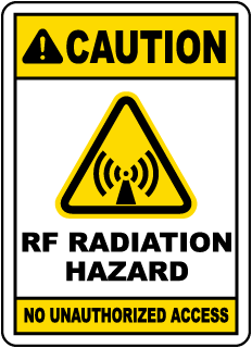 Caution RF Radiation Hazard No Unauthorized, E2259