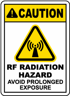 Caution RF Radiation Hazard Avoid Prolonged exposure, E2260
