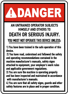 Danger An Untrained Operator, E2266