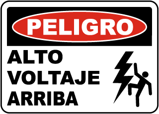 Spanish Danger High Voltage Overhead Sign