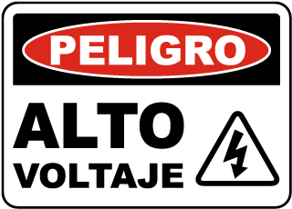 Spanish Danger High Voltage Sign