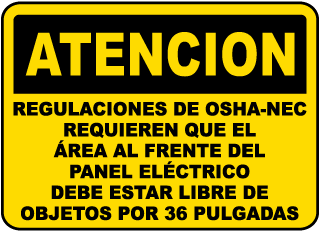 Spanish OSHA-NEC Regulations Sign