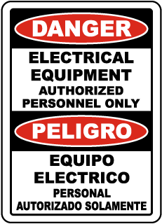Danger Electrical Equipment/ Peligro Equipo Electrico sign
