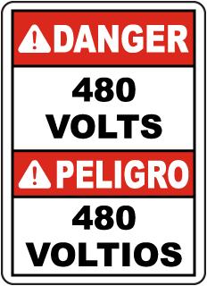 Bilingual Danger 480 Volts Label