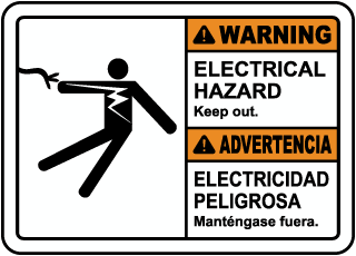 Warning Electrical Hazard. Keep Out sign