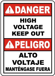 Bilingual Danger High Voltage Sign